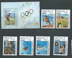 Laos 1983 Los Angeles Olympic Games Set Of 6 & Miniature Sheet MNH - Laos
