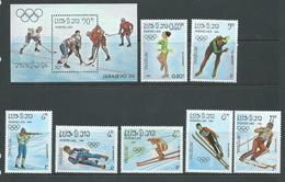 Laos 1984 Sarajevo Olympic Games Set Of 7 & Miniature Sheet MNH - Laos