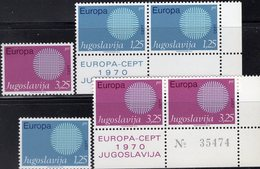 EUROPA 1970 Yugoslavia 1379/0+ER-Paar ** 4€ Sonne Flecht-Motiv Symbol Kooperation CEPT Ss Se-tenants Bf JUGOSLAVIJA - Europa-CEPT