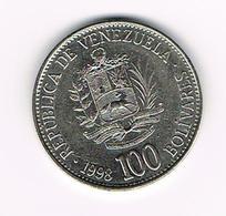 &  VENEZUELA  100  BOLIVARES  1998 - Venezuela