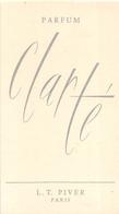 """¤¤  -  Carte Parfumée  -  Eau De Toilette L.T. PIVER  """" CLARTE """"  De Paris  -  PARFUM  -  ¤¤ - Modernes (à Partir De 1961)"""