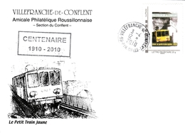 MTAM SUR ENVELOPPE ILLUSTREE 100° DU TRAIN JAUNE VOIR SCAN - 1961-....