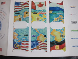 Global Chipcard Alliance,Joint Issued Chip Phonecards,national Flag And Map,puzzle Set Of 6,mint In Folder - Phonecards