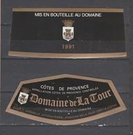 13600 La Ciotat  1991 Etiquette  Domaine De La Tour - Cartoncini Da Visita
