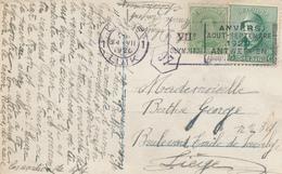 046/27 - JEUX OLYMPIQUES ANVERS 1920 - Carte-Vue TP Casqué + Albert 15 En MIXTE - Cachet Mécanique J.O LIEGE 1 - Summer 1920: Antwerp