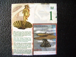 Gambia, Millennium,Leonardo Da Vinci, Design The Flying Machine, Art, Drawing,  Famous People,  2000 - Gambia (1965-...)
