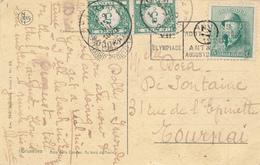 047/27 - JEUX OLYMPIQUES ANVERS 1920 - Carte TP Casqué 5 C - Cachet Mécanique J.O BRUXELLES Midi - Taxée 10 C à TOURNAI - Summer 1920: Antwerp