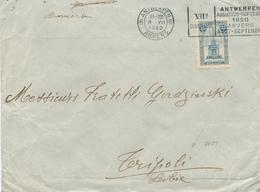 049/27 - JEUX OLYMPIQUES ANVERS 1920 - Lettre TP Perron  25 C - Cachet Mécanique J.O ANVERS 6 Vers TRIPOLI Lybie - Summer 1920: Antwerp
