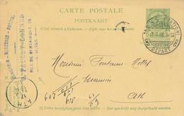 050/27 - BRASSERIE BELGIQUE - Cachet Brasserie Paulet-Donnen à MONS Sur Entier Postal Armoiries MONS Station 1908 - Bières