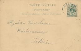 056/27 - BRASSERIE BELGIQUE - Vers Le Brasseur Van Laere à LOKEREN - Entier Postal Lion Couché LOKEREN 1894 - Bières