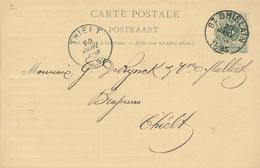 057/27 - BRASSERIE BELGIQUE - Vers Le Brasseur De Rynck § Malliet à THIELT - Entier Postal Lion Couché ST GHISLAIN 1895 - Biere