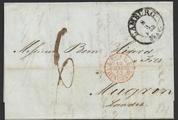 1853 Faltbrief Hamburg Nach Mugron, Frankreich - Grenzübergangsstempel - Hamburg