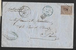 19 Sur Lettre Obl. LP ? CàD Nord 1 (AN) Le 1 Dec 1867 + Petit Cachet PD Encadré (lot 849) - 1865-1866 Profil Gauche