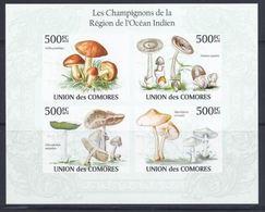 Comores 2010 Mushrooms Champignons Imperf MNH - Champignons