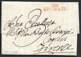 1809 LAC Occupation D' Italie Grosseto A Firenze - Marque Dèpartemental - Marcophilie (Lettres)