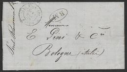. LAC 1878 Pont De Beauvoisin Vers Bologna, Italie - Boite Mobile - Marcophilie (Lettres)