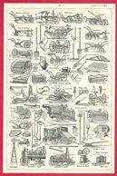 Agriculture: Charrue, Moissonneuse, Batteuse, Locomotive, Illustration Maurice Dessertenne, Larousse 1908 - Old Paper