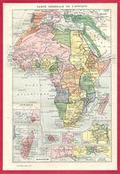 Carte Générale De L'Afrique, Recto, Scènes Des Peuples Et Animaux D'Afrique, Illustration Millot, Verso, Larousse 1908 - Old Paper