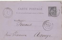Entier Postal Yvert 89 CP2  Cachet GIEN Loiret 6/9/1886 Pour Arcinges Par Belmont De La Loire - Ganzsachen