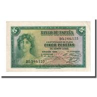 Billet, Espagne, 5 Pesetas, 1935, KM:85a, SPL - 5 Pesetas