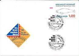 Greenland 1996.Postcard,label And Postmark SINDELFINGEN. Motive Stamp - 1996 Whales,Marine Life - Brieven En Documenten