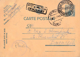 ROMANIAN OCCUPATION In UKRAINE - STATIONERY - TRANSNISTRIA To ROMANIA : 1943 - MILITARY CENSORSHIP - RARE !!! (ab919) - Entiers Postaux