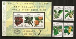 Fleurs Des  îles COCOS (Océan Indien) Série +  Bloc-feuillet Neufs ** Côte 25,00 Euro. - Cocos (Keeling) Islands