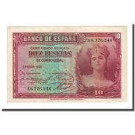 Billet, Espagne, 10 Pesetas, 1935, KM:86a, SUP - 10 Pesetas