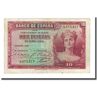 Billet, Espagne, 10 Pesetas, 1935, KM:86a, TTB - [ 2] 1931-1936 : Repubblica