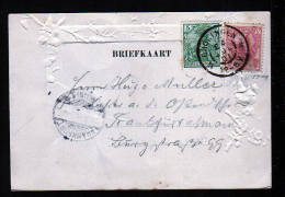 10 C. Königin Und 5 Pf. Germania Auf Karte Ab Groningen 1901 Nach Frankfurt - 1891-1948 (Wilhelmine)