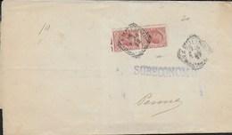 STORIA POSTALE REGNO - ANNULLO TONDO RIQUADRATO PENNE/(TERAMO SU RETRO FASCETTA S.C. DA NAPOLI 19.02.1908 - Marcophilie