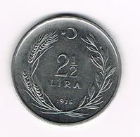 &   TURKIJE  2 1/2  LIRA  1975 - Turquie