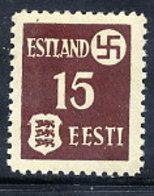 ESTONIA  1941 15 K. On Ordinary Paper, LHM / * .  Michel 1y - Occupation 1938-45