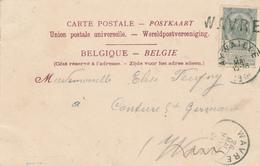 ZZ691 - Annulation Par GRIFFE LINEAIRE à L' Arrivée à  - Carte-Vue Chateau Amblève TP Armoiries AYWAILLE 1904 Vers WAVRE - Poststempel