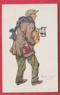 Bruxelles - Hiver 1914-1915 ... Personnage Incarnant Le Froid Et La Fain Par L'illustrateur M. Lambiotte ( Voir Verso ) - Oorlog 1914-18