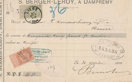 ZZ698 - Reçu TP Fine Barbe LIEGE 1894 Vers NINOVE - RARE 1 TP  Annulé à L' Arrivée Par 2 X Griffe Linéaire NINOVE - Poststempel