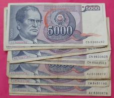 YUGOSLAVIA LOT 18 Pieces  5000 DINARA 1985 - Yugoslavia