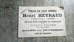 Buvard Publicitaire Henri Heyraud Limoges 7 Place D'aine Articles Pour Porcelaine Toiles - Blotters