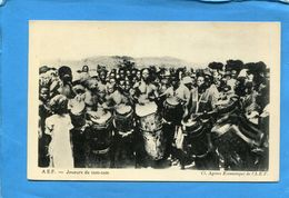 A E F -Tchad- Joueurs De Tam Tam- Plan Animé-années 20-éditionagence économique A E F - Tchad
