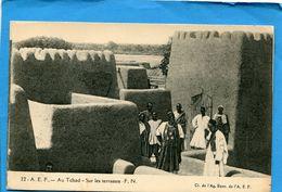 A E F -Tchad- Sur Les Terrasses-- Plan Animé-années 20-éditionagence économique A E F - Tchad