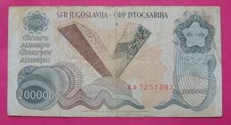YUGOSLAVIA 2000000 DINARA 1989, RARE - Yugoslavia