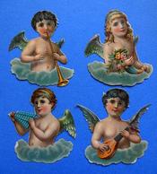 4 CHROMOS DECOUPIS   ANGES MUSICIENS   H  8 Cm - Angeles