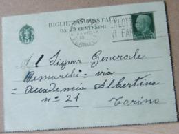 MONDOSORPRESA,(IP114) BIGLIETTO POSTALE 25C EFFIGE VITTORIO EMANUELE A SINISTRA, ANNULLO TORINO FERROVIA - 4. 1944-45 Repubblica Sociale