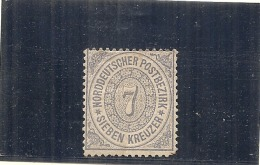 ALLEMAGNE -  Confédération Du Nord --- N° 21 -- 7K Bleu Côte 1.5€ Sans Gomme - Norddeutscher Postbezirk