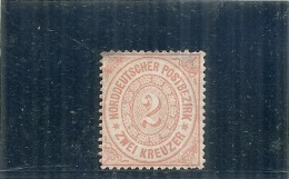 ALLEMAGNE -  Confédération Du Nord --- N° 19 Gommée (micro Manque Angle) Côte 60€ - Norddeutscher Postbezirk