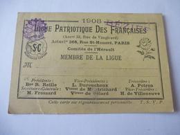 """BEZIERS (34) : CARTE D'ADHERANT """"LIGUE PATRIOTIQUE DES FRANCAISES"""" 1908 - Documents Historiques"""