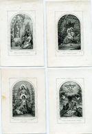 4 Gravures Dopter - Fuite Du Monde- Confiance En Marie- Arbre De Vie- Jésus Innocente Victime - Imágenes Religiosas