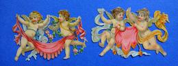 2 CHROMOS DECOUPIS   2 GROUPES D'ANGES   FLEURS DRAPERIE     LARGEUR 9 Cm - Angels