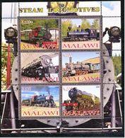 Malawi 2008 M/S Cinderella Issue Stamps Steam Locomotives Trains Transport Railway Rail Train Locomotive MNH Perforated - Trains
