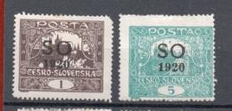 CECOSLOVACCHIA  SLESIA ORIENTALE FRANCOBOLLI DI CECOSLOVACCHIA  SOPRASTAMPATI  S.O. 1920 - Cecoslovacchia